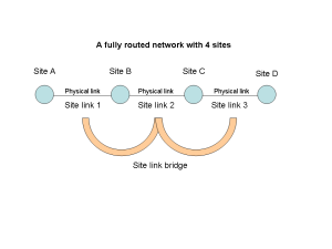 Figure 3: A fully routed network with 4 sites